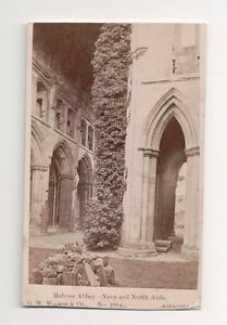 Vintage-CDV-Melrose-Abbey-Melrose-Roxburghshire-in-the-Scottish-Borders