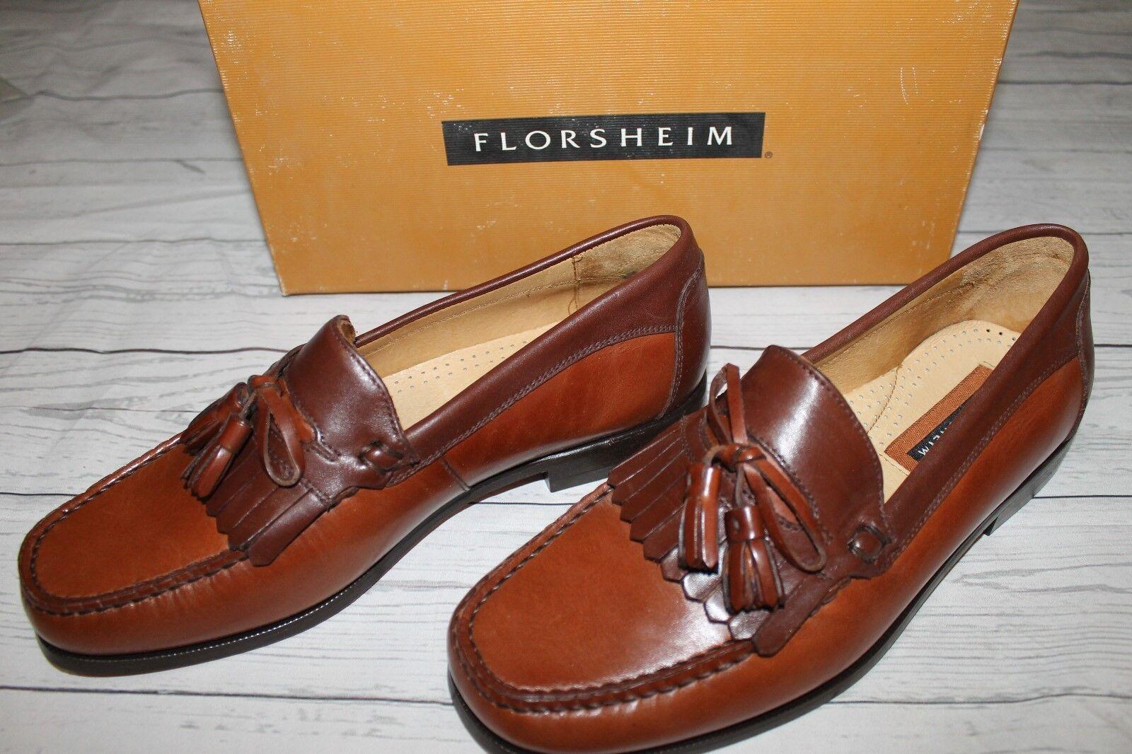 Florsheim Brown Leather Kiltie Tassle Loafers 8D (medium width) IN ORIGINAL BOX Scarpe classiche da uomo