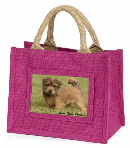 NorwichNorfolk Terrier 'Love You Dad' Little Girls Small Pink Shoppi, DAD80BMP