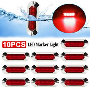 10x-Red-4-LED-Side-Clearance-Marker-Light-Car-Truck-Tail-Trailer-Lamp-12V-24V