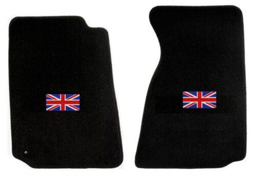 NEW 1965-1967 Sunbeam Tiger Alpine Black Floor Mats with Flag Logo Pair Set