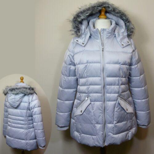 argento s invernale trapuntato M ~ 18 con donna Cappotto Parka da grigio taglia imbottito cappuccio 6wYq10