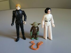 Vintage Star Wars Lot of 3 Jedi Luke, Pac Man Yoda and Princess Leia
