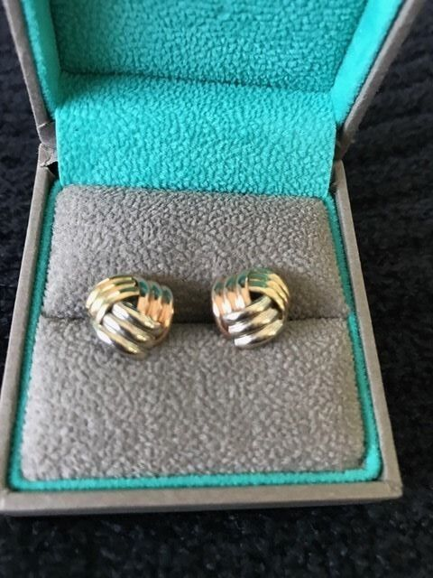 Tri color knot stud earrings in 14K gold 1 2 in
