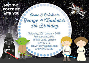 10 X Personalised Star Wars Birthday Party Invitations
