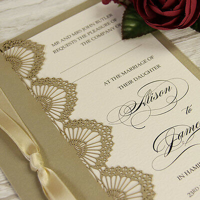 Gold Shell Laser Cut Personalised Handmade Luxury Wedding Day Invitations Sample