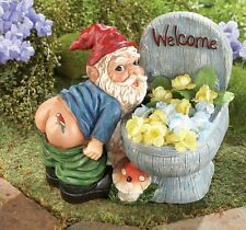 """Motion Sensor Activated """"Farting"""" Gnome w/ Welcome Toilet Garden Planter Statue"""