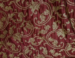 Designer-Brocade-Jacquard-Floral-Fabric-54-wide-sold-by-yard-Burgundy-gold