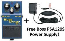 New Boss BD-2 Blues Driver Effect Pedal FREE Boss PSA120S Power Supply!