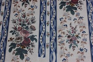 French-Antique-BlockPrinted-Rose-Bouquet-Stripe-Chintz-Artwork-On-Paper-c1840-60