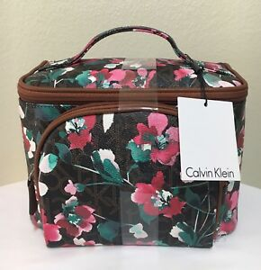 Calvin Klein CK Logo 2 Piece Cosmetic Make-up Travel Bag Brown Pink ... e8067d21d2