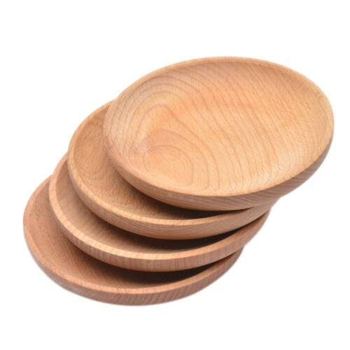 Round Wood Tray Meal Fruit Bread Snack Serving Tray Salad Bowl Dish Platter