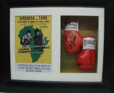 George Foreman V Muhammad Ali Miniature Signed Boxing Gloves Framed