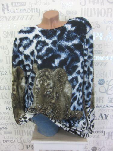 5026 Pullover Feinstrick Long Pulli Tunika Shirt Strass Tiger Print 42 44 46