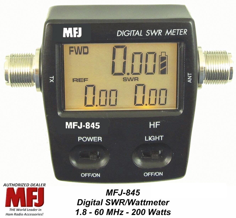 MFJ 845 Digital SWR/Power/Wattmeter HF, 1.8 - 60 MHZ, 200 Watts Mobile/Base . Available Now for 114.00