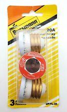 Pack Of 3 Bussmann Tl 20 20 Amp 125 Volt Time Delay Edison Base Fuses