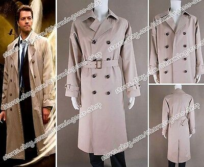 Supernatural Cosplay Costume Angel Castiel Trench Coat Jacket Clothing Tailored