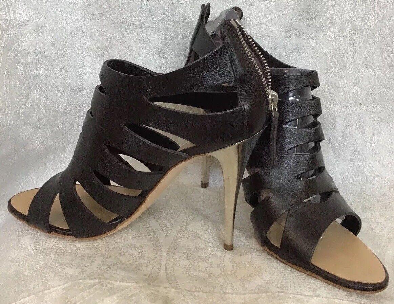 Guiseppe Zanotti shoes Black Cage Open Toe Zip Back Silver Heel Size 39 New
