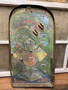 Vintage-Poosh-M-Up-5-Games-In-One-Tabletop-Pin-Ball-Game-Baseball-Old-Toy