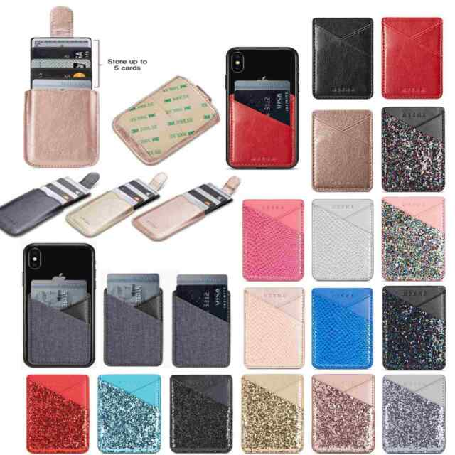 sale retailer f6d59 085c5 Universal Stick On Dual Credit ID Card Wallet Holder Case Adhesive Phone  Pocket