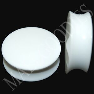 0449-Double-Flare-Saddle-Solid-White-Acrylic-Ear-Plugs-Earlets-1-3-16-034-Inch-30mm