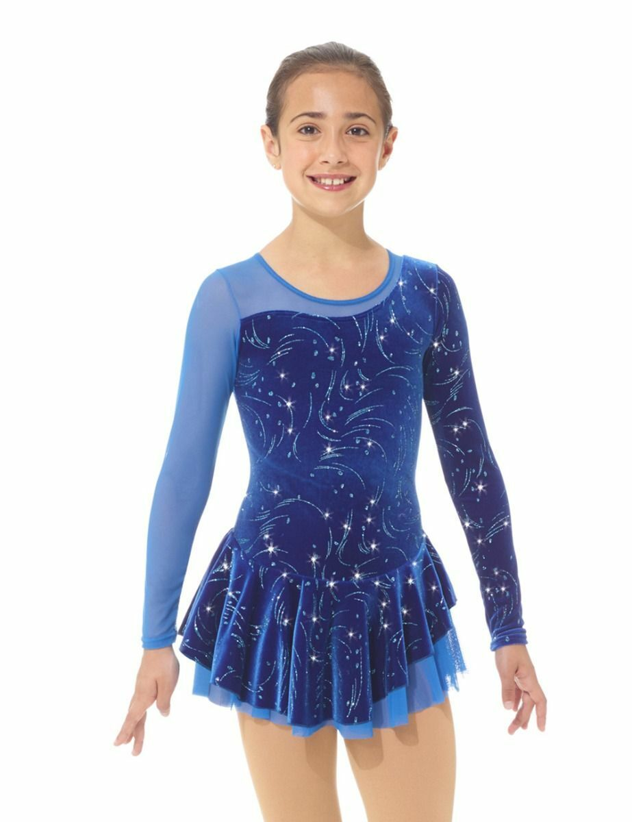 Mondor 12930 Ice Figure Skating Competition Dress Blizzard Blau Twirl CS 12-14