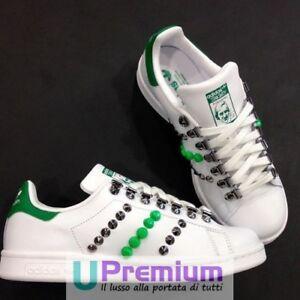 Adidas Stan Smith Verde Borchiate Argento Vintage Scarpe