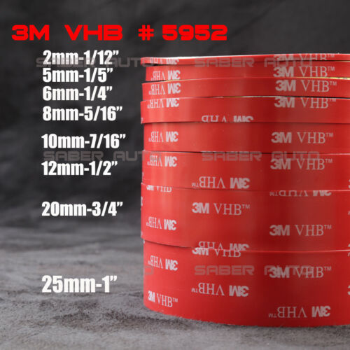 3M VHB #5952 Double-sided Acrylic Foam Adhesive Tape Automotive 12 Meters//40FT