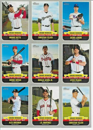 2019 Topps Heritage High AWARD WINNERS Complete Insert SET of Cards 10