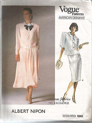 Vogue Designer Sewing Pattern 1842 Albert Nipon, Vintage Top and Skirt, Size 12