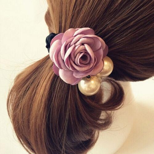 Women Girls Rose Flower Pearls Beads Hair Band Rope Scrunchie Ponytail HoldeHK