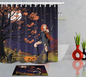 Image Is Loading Halloween Beauty Witch Bathroom Decor Pumpkin Black Cat