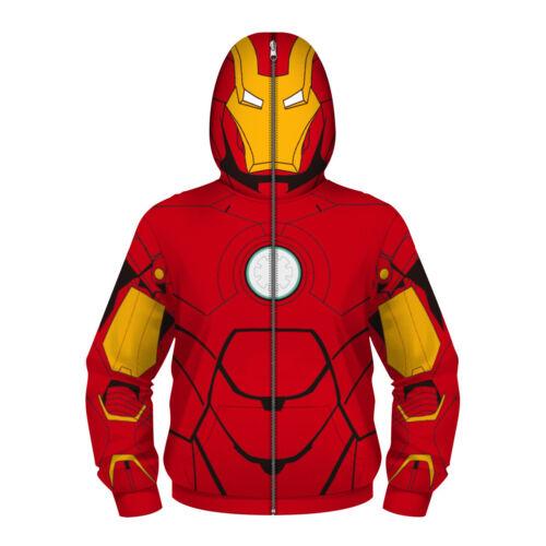 The Avengers Iron Man Kid/'s Hoodie Coat Boy/'s Zipper Jumper Sweatshirt Jacket