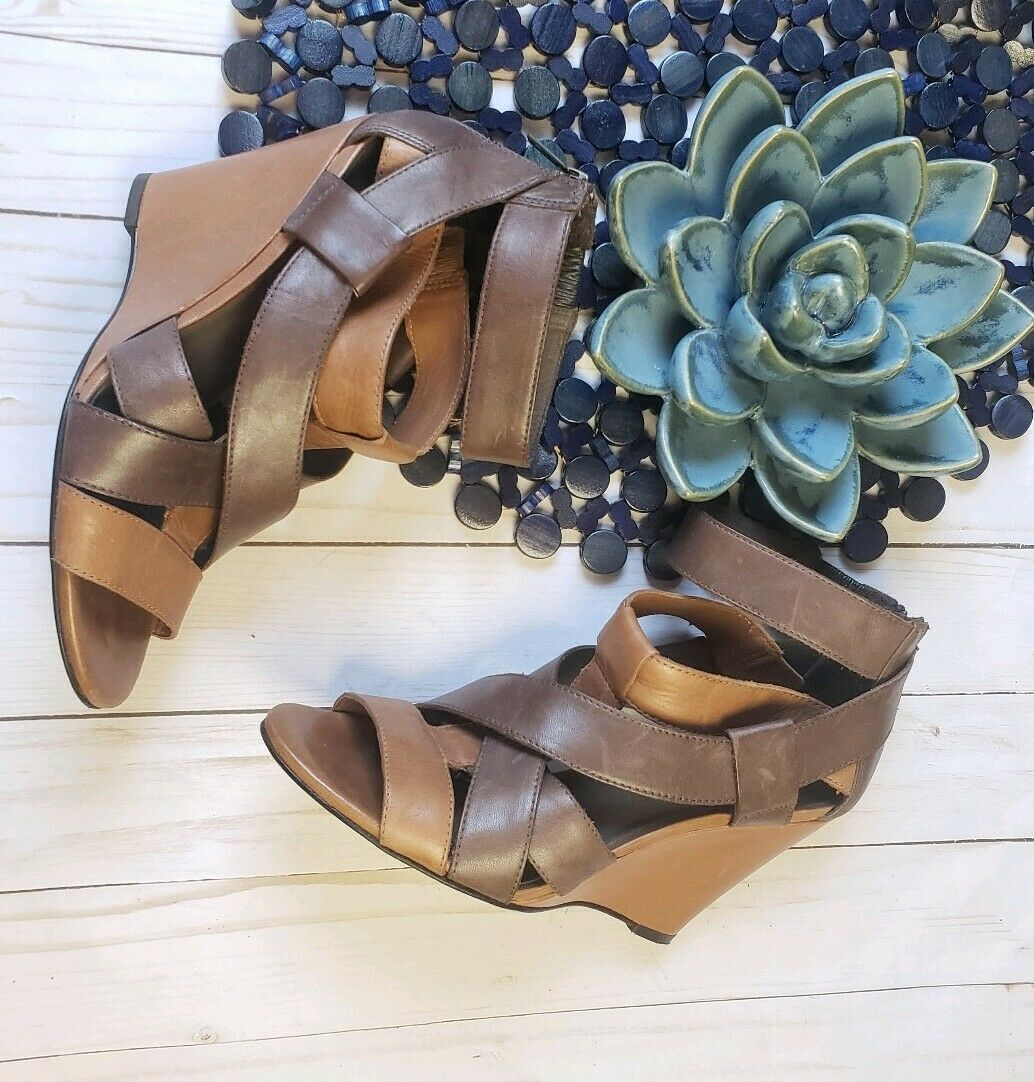 Joie Royce Two Tone marrón Leather Wedge Sandals Talla 36 6