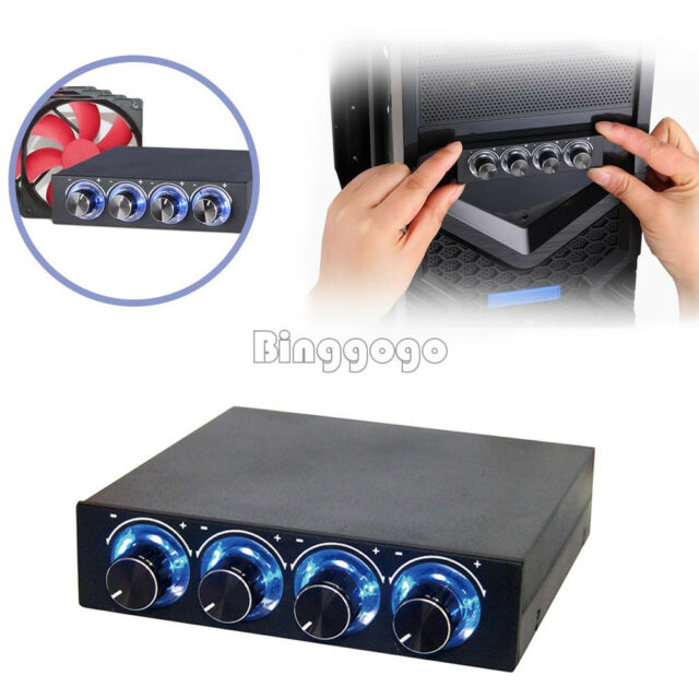 """3.5"""" PC CPU HDD 4 Channel Fan Speed Controller Control Led Cooling Front Panel"""