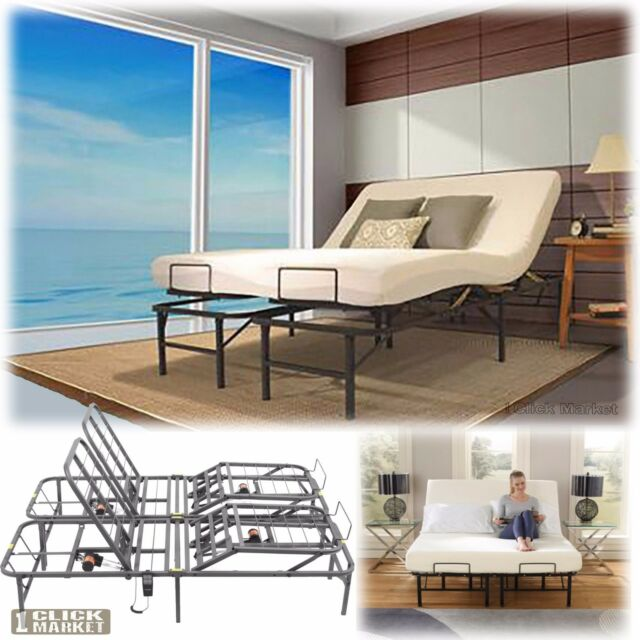 King Size Adjustable Electric Lift Bed Frame Head Foot Control ...