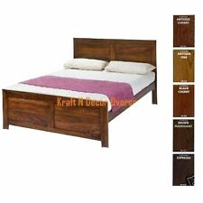 Contemporary Double Bed of Wood in Brown Colour