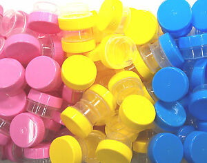 21-Mini-1tsp-Tiny-Plastic-Jars-Spice-Sample-Size-Pink-Blue-Yellow-Caps-DecoJars