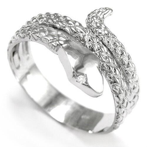 Serpent Snake Ring in14k White gold G-VS2 Diamond (100% eye clean)   R646