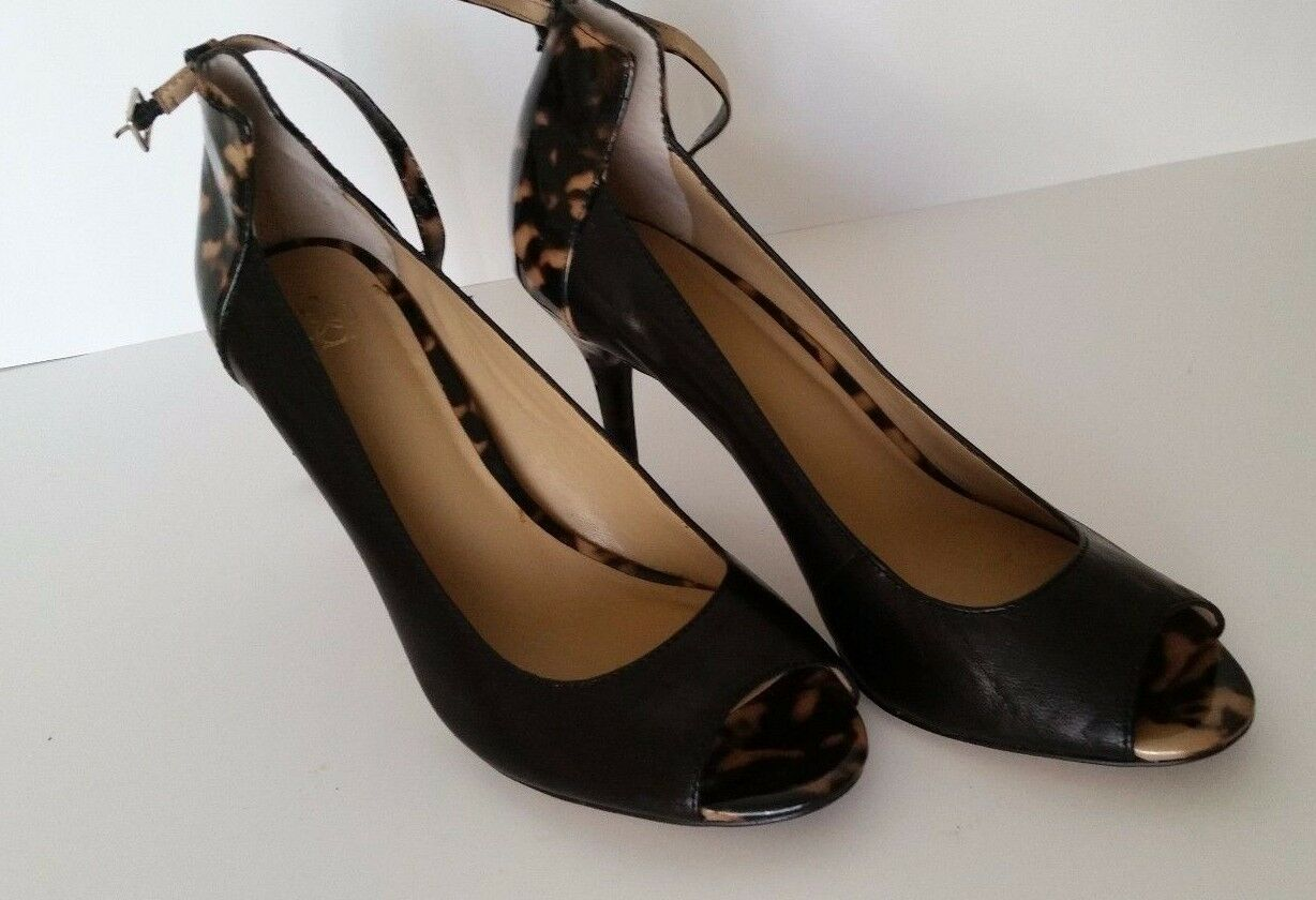 ANN TAYLOR  Black & Brown High Heel shoes, Leather Upper VERY NICE