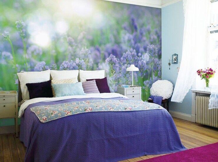 3D Schönes Lila Blumenfeld 7 Tapete Wandgemälde Tapete Tapeten Bild Familie DE