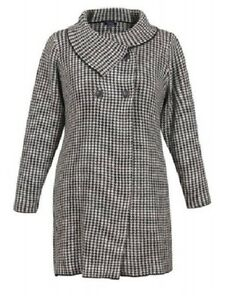 9d4085d722b Image is loading SAMYA-PLUS-SIZE-DOUBLE-BREASTED-BUTTON-HOUNDSTOOTH-PRINT-