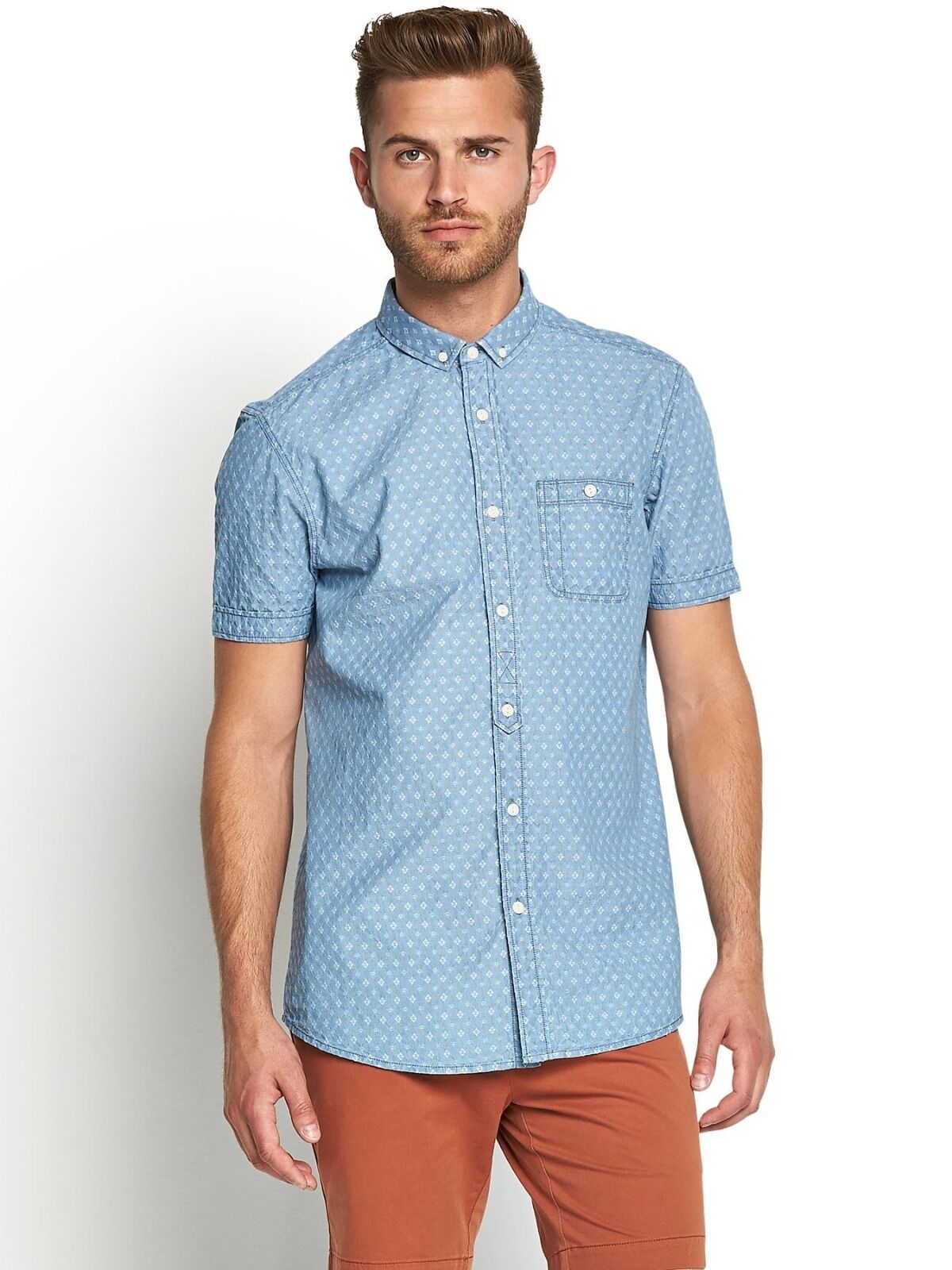 Goodsouls Hommes Chemise à manches courtes, S, taille S, courtes, Chambray Bleached Wash 6a083a