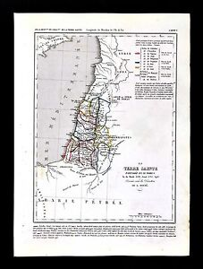 1849 Houze Map - Holy Land - 12 Tribes of Israel - Palestine ... on