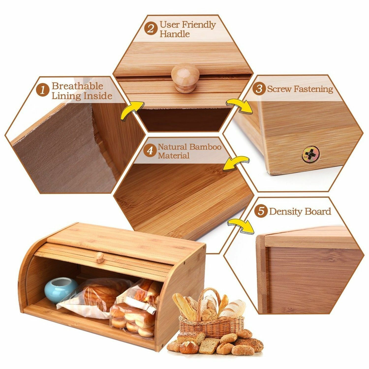 Roll Top Bamboo Wood Bread Box Loaf Container Kitchen Food Storage Bin Large US 4