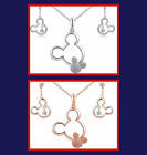 New Plated Crystal Mickey Mouse Necklace & Earrings Set Rose Gold or SIlver
