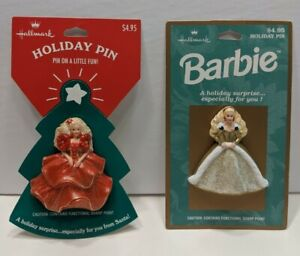 Lot-of-2-VTG-Hallmark-PIN-Christmas-BARBIE-HOLIDAY-GOLD-of-Ornament-Holiday-NEW
