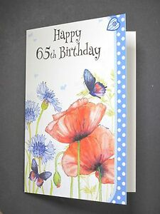 Image Is Loading Birthday Cards 65th Card Quality Free