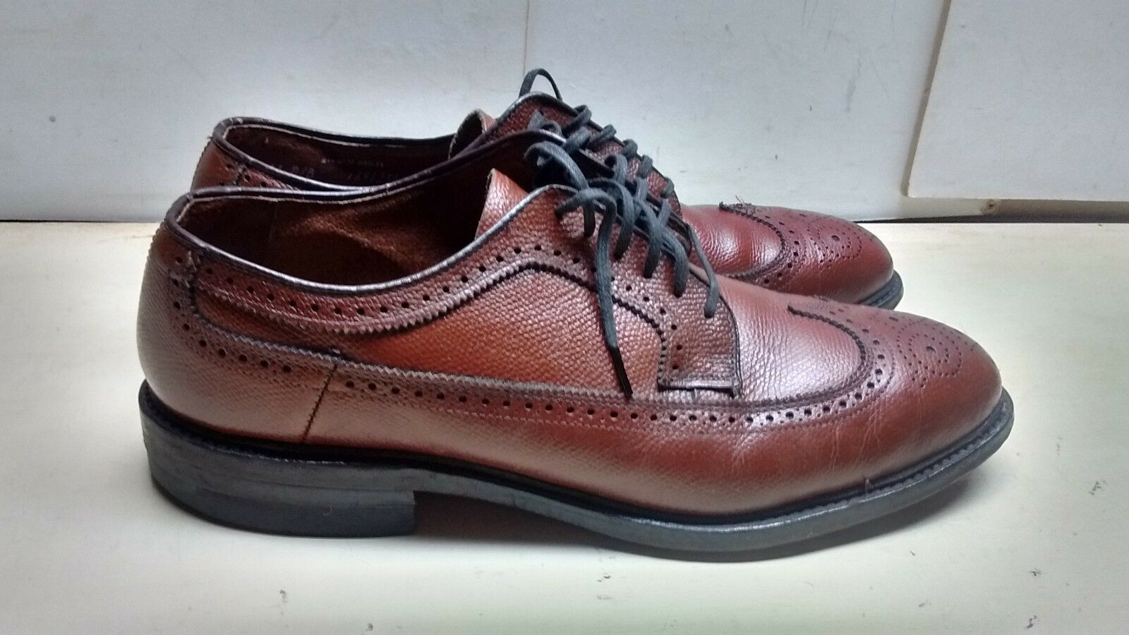 Bostonian Iron Age Men Pebbled Leather Brown Oxford Wingtip Lace Dress shoes 11 M