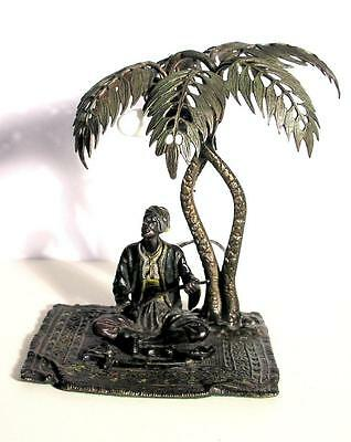 Original Antique Bergmann Lamp with Bedouin on Carpet Under Palm Tree